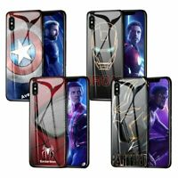 MARVEL Avengers Tempered Glass Cover Case Ironman Captain iPhone X XS MAX XR S