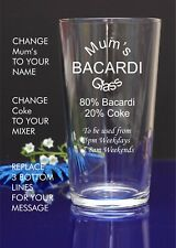 Engraved/Personalised Pint MUM'S BACARDI GLASS Gift For Christmas/Nan55