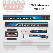 1977 Mercury 20 HP Outboard Reproduction 15 Piece Marine Vinyl Decal 200