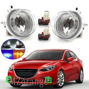 Pair LED Front Fog Light Lamp For Mazda 2 3 6 BT-50 MPV CX-5 CX-7 CX-9 MX-5 RX8