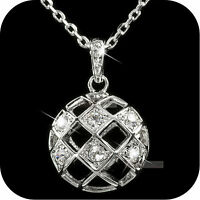 18k white gold made with SWAROVSKI crystal filigree hollow pendant necklace