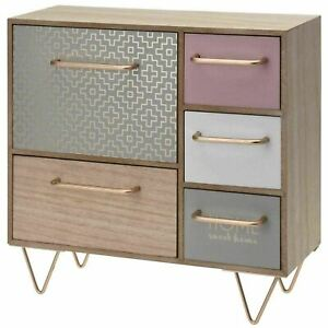 Womens Wooden Mini Dresser Cabinet Drawers Jewellery Cosmetics Storage Organiser