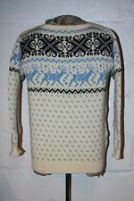 VTG Dale of Norway Nordic Wool Blue Reindeer Ugly Christmas Sweater Sz 52 L