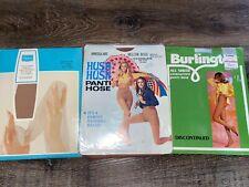 Burlington Hush Hush Sears ~ 3-Pair Women's Nos Vtg Pantyhose Nylon 1960's ~ M