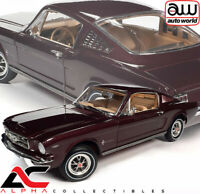 AUTOWORLD AMM1248  1:18 1965 FORD MUSTANG 2+2 FASTBACK (BURGUNDY)