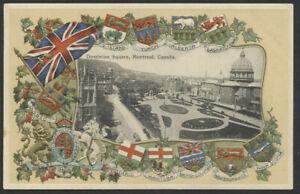 Canada 1914 Dominion Sq Montreal Patriotic Postcard- St John & Montreal RPO-pc84
