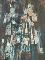 Vintage Abstract Figural Artist Proof Print Mid Century Modern Signed Maxwell