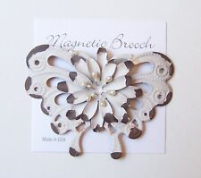 Magnetic Brooch Clip Clasp Pin Cream Rustic Metal Butterfly Scarves Shawl