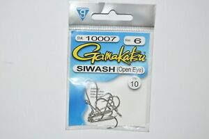 gamakatsu siwash open eye hook nickel size 6  # 10007  10 per pack