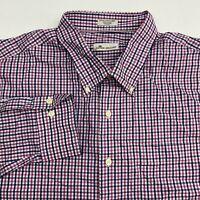 Peter Millar Button Up Shirt Men's Size XXL Long Sleeve Blue Pink Plaid Cotton