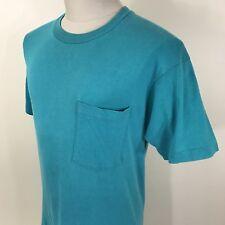 Vtg 80s 90s Fruit of the Loom Teal Pocket T Shirt Men's M/L Blank Tee Usa