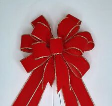 Christmas Bow, Wreath Bow, Red Velvet with Gold Edge
