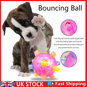 Jumping Activation Ball for Dogs Music LED Vibrating Bouncing Pet Ball Toys UK