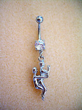 14g Kama Sutra Sex Position Navel Belly Ring Clear Cz Surgical Steel #8