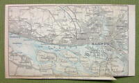 1904 MAP ORIGINAL Baedeker - HAMBURG & Environs Germany