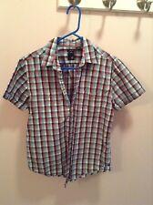 Red, white & blue plaid J Ferrar short sleeve button up shirt size M(15-15 1/2)