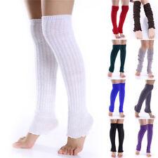 Women Lady Winter Long Leg Warmers Knit Crochet Leggings Stockings Socks HT