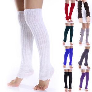 Women Lady Winter Long Leg Warmers Knit Crochet Leggings Stockings SockSEAU