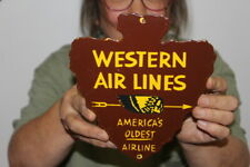 Western Air Lines Americas Oldest Airline Airplane Gas Oil Porcelain Metal Sign