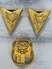 Vintage Western Collar Shirt Point Tips And Scarf Clip Saddles Rhinestones Gold