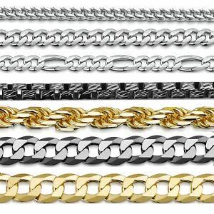 Amberta 925 Sterling Silber Rhodiniert Halskette für Herren Kette aus Italien