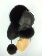 Black Fox Fur Ushanka Hat With Leather. Saga Furs. Regular Women's Size Aviator
