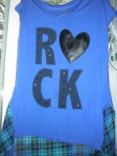 Girls TopPulloverShirt BONGO Girls  ROCK  BlueBlk and Plaid XL14-16    GUC
