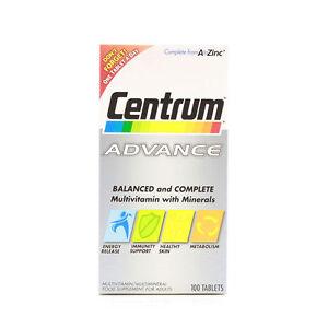 Centrum Advance A to Z Multivitamins Multiminerals 100 Tablets Multi Vitamins