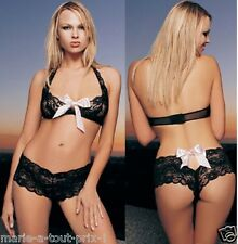 LEG AVENUE 2 PC BUTTERFLY LACE HALTER TOP SATIN BOW TANGA 8073 NOIR ENSEMBLE 2PC