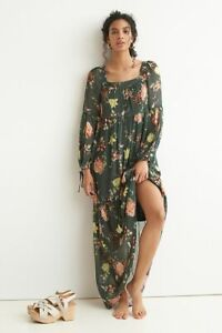 ANTHROPOLOGIE NWT $198 Evelin Floral Romantic Square Neck Maxi Dress Size Small