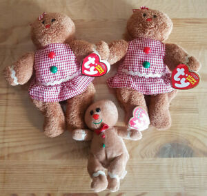 Ty Beanie Babies Gretel Jingle Sweetsy Gingerbread Man Ornament Christmas Plush