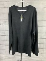 Mens APT 9 Sweater Size 3XB Gray Wool Blend Pullover V Neck Long Sleeve Luxury