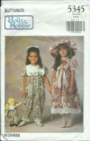 B 5345 sewing pattern DRESS PARTY PANTS HAT Holly Hobbie DOLL CLOTHES size 4,5,6