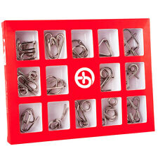 15 Pcs/Set IQ Metal Puzzle Mind Brain Teaser Magic Wire Puzzles Game Toys for
