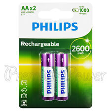 2 x Philips Rechargeable AA 2600 mAh batteries NiMh 1.2V HR6 Mignon Pack of 2