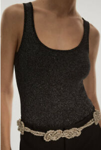 "Genuine Zara Sparkly Knotted Rhinestone Jewel Belt, size 85/UK 32"""