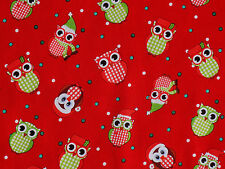 FAT QUARTER  HOLIDAY HOOT OWLS  CHRISTMAS NOVELTY QUILTING 100% COTTON FABRIC FQ
