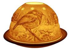 Light-Glow Robin Bird Xmas Christmas Tealight Candle Holder Tea Light Dome Boxed