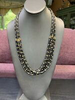 """Necklace Black Gold Beaded Bohemian Multi Strand necklace 24"""" Hook Clasp"""