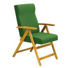 Poltrona sdraio pieghevole legno acacia 5 posizioni imbottita verde relax 07232