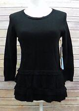 CeCe By Cynthia Steffe Scoop Neck 3/4 Sleeve Ruffle Hem Sweater Black XS HM820