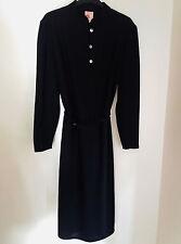 Vintage 1970s Black Dress St Michael Belt Glass/Crystal Buttons Size 14/16 MOD