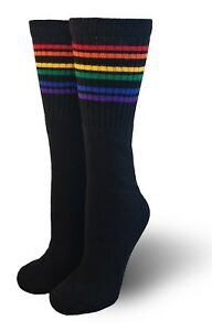Pride Socks Black Rainbow Under The Knee Striped Tube Socks