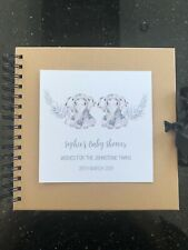 Personalised Twins Baby Shower Memory Scrapbook Baby Elephant Wreath Design