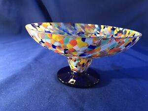 Beautiful Czech Multicoloured Glass Bowl