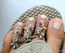 ring pair fish deign belly dance vintage antique ethnic tribal old silver toe