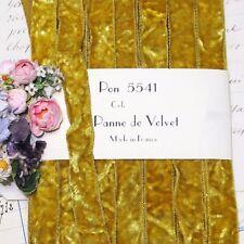 """1y Vtg 5/8"""" French Crushed Mustard Velvet Ribbon Trim Boho Doll Antique Vtg Silk"""