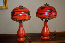 Pair of Red Lundberg Studios Heart & Vine Design Glass Table Lamps - Signed
