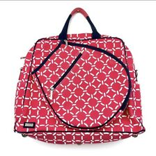 Ame & Lulu Cabana Tennis Travel Tote Bag Pink / Navy Blue Excellent Condition