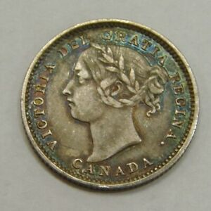 Canada - 1892 - Silver 10 Cents - KM# 3 - Victoria - Nice Colorful Toned